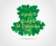 17 MARCH St Patricks Day .  background.  Card design with paper. Art green shamrock ,white background .Vector Stock Image
