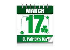 March 17. St. Patricks Day calendar. Calendar with the date of March 17. St. Patricks Day calendar. Vector illustration isolated on white background Royalty Free Stock Images