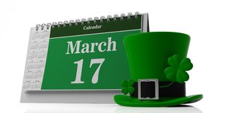March 17, St Patricks Day on calendar and leprechaun hat isolated on white background. 3d illustration. March 17, St Patricks Day on calendar and leprechaun hat Royalty Free Stock Photos