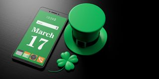 March 17, St Patricks Day on smartphone screen and leprechaun hat on black background, copy space. 3d illustration. March 17, St Patricks Day on smartphone Royalty Free Stock Images