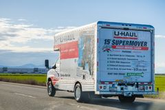 March 25, 2018 Stockton / CA / USA - U-Haul van travelling on the interstate; U-Haul is an American company offering DIY moving. Solutions royalty free stock image