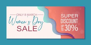 Only in March super Discount to Womens Day. Offer banner template. Creative design in papercut technique stock illustration