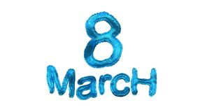 8 March symbol. Figure of eight made of blue city blocks or fur . Can be used as a decorative greeting grungy or postcard for inte Stock Image