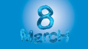 8 March symbol. Figure of eight made of blue city blocks or fur . Can be used as a decorative greeting grungy or postcard for inte Royalty Free Stock Images