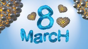 8 March symbol. Figure of eight made of blue city blocks or fur flying in the air with golden hearts . Can be used as a decorative Stock Photography