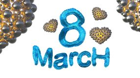 8 March symbol. Figure of eight made of blue city blocks or fur flying in the air with golden hearts . Can be used as a decorative Royalty Free Stock Images