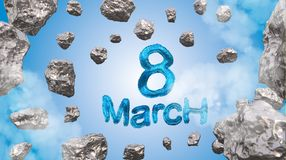 8 March symbol. Figure of eight made of blue city blocks or fur flying in the space with asteroids. Can be used as a decorative gr Stock Images