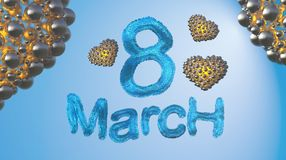 8 March symbol. Figure of eight made of blue city blocks or fur flying in the space with asteroids. Can be used as a decorative gr Royalty Free Stock Images