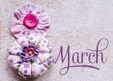 8 March symbol. Figure of Eight made of buttons. Happy international Women's Day design. Stock Images