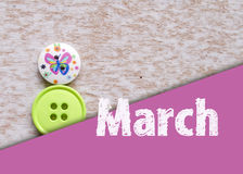 8 March symbol. Figure of Eight made of buttons. Happy international Women's Day design. Stock Photo