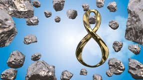 8 March symbol. Figure of eight made of cast gold platinum or silver flying in the air with asteroid field in front. Decorative gr. Eeting or postcard for Stock Photo