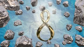 8 March symbol. Figure of eight made of cast gold platinum or silver flying in the air with asteroid field in front. Decorative gr. Eeting or postcard for Stock Images
