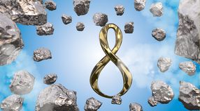 8 March symbol. Figure of eight made of cast gold platinum or silver flying in the air with asteroid field in front. Decorative gr. Eeting or postcard for Stock Photos