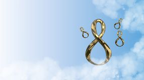 8 March symbol. Figure of eight made of cast gold platinum or silver flying in the air with copyspace. Decorative greeting or post. 8 March symbol. Figure of Stock Photo