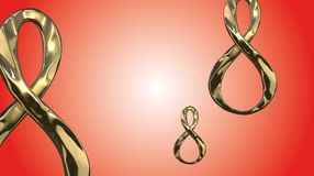 8 March symbol. Figure of eight made of cast gold platinum or silver flying in the air with copyspace. Decorative greeting or post. 8 March symbol. Figure of Stock Photos
