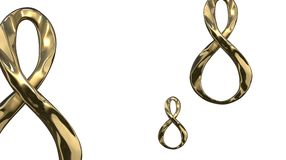 8 March symbol. Figure of eight made of cast gold platinum or silver flying in the air with copyspace. Decorative greeting or post. 8 March symbol. Figure of Stock Photography