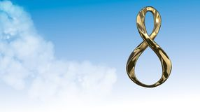 8 March symbol. Figure of eight made of cast gold platinum or silver flying in the air. Decorative greeting or postcard for intern. Ational Woman's Day 3d Stock Photography