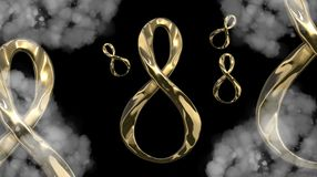 8 March symbol. Figure of eight made of cast gold platinum or silver flying in the air . Decorative greeting or postcard for inter. 8 March symbol. Figure of Stock Photos
