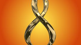 8 March symbol. Figure of eight made of cast gold platinum or silver flying in the air. Decorative greeting or postcard for intern. Ational Woman's Day 3d Stock Photo