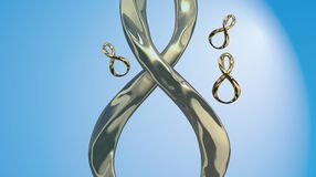8 March symbol. Figure of eight made of cast gold platinum or silver flying in the air. Decorative greeting or postcard for intern. Ational Woman's Day 3d Stock Images