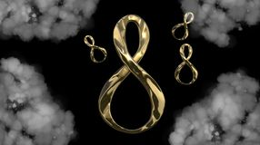 8 March symbol. Figure of eight made of cast gold platinum or silver flying in the air . Decorative greeting or postcard for inter. 8 March symbol. Figure of Stock Image