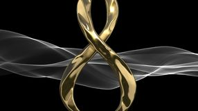 8 March symbol. Figure of eight made of cast gold platinum or silver flying in the air and the smoke silk ribbon behind. Decorativ. E greeting or postcard for Stock Photos