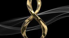 8 March symbol. Figure of eight made of cast gold platinum or silver flying in the air and the smoke silk ribbon behind. Decorativ Stock Photo