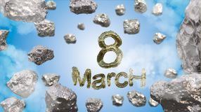 8 March symbol. Figure of eight made of golden city blocks or star ship flying in the space with asteroids. Can be used as a decor. Ative greeting grungy or Stock Images