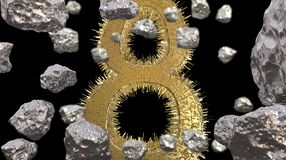 8 March symbol. Figure of eight made of golden city blocks or star ship flying in the space with asteroids. Can be used as a decor. Ative greeting grungy or Royalty Free Stock Image