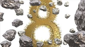 8 March symbol. Figure of eight made of golden city blocks or star ship flying in the space with asteroids. Can be used as a decor. Ative greeting grungy or Royalty Free Stock Photo