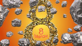 8 March symbol. Figure of eight made of golden gem blocks flying in the space with asteroids. Can be used as a decorative greeting Royalty Free Stock Photos