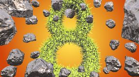 8 March symbol. Figure of eight made of green city blocks flying in the space with asteroids. Can be used as a decorative greeting. Grungy or postcard for royalty free illustration