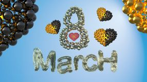 8 March symbol. Figure eight made of spheres and fur flying in the air with gold black hearts . Can be used as a decorative greeti Royalty Free Stock Photography
