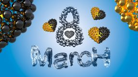 8 March symbol. Figure eight made of spheres and fur flying in the air with gold black hearts . Can be used as a decorative greeti Stock Photo