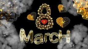 8 March symbol. Figure eight made of spheres and fur flying in the air with gold black hearts . Can be used as a decorative greeti Royalty Free Stock Image