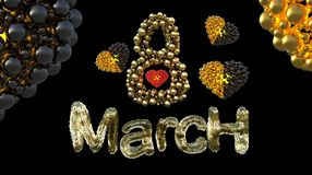 8 March symbol. Figure eight made of spheres and fur flying in the air with gold black hearts . Can be used as a decorative greeti Royalty Free Stock Photos