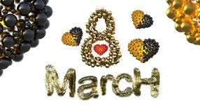 8 March symbol. Figure eight made of spheres and fur flying in the air with gold black hearts . Can be used as a decorative greeti Royalty Free Stock Images