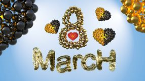 8 March symbol. Figure eight made of spheres and fur flying in the air with gold black hearts . Can be used as a decorative greeti Stock Image