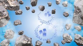 8 March symbol. Figure of eight made of water drops and ice cubes gem blocks flying in the space with asteroids. Decorative greeti Royalty Free Stock Photography