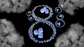 8 March symbol. Figure of eight made of water drops with ice cubes over space background. Decorative greeting grungy or postcard f. Or international Woman's Day Royalty Free Stock Image