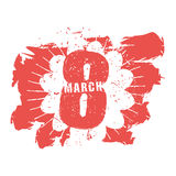 8 March symbol. Red emblem for international womens day. Grunge Royalty Free Stock Image