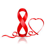 8 March symbol of red ribbon and ribbon in heart shaped. Stock Photos