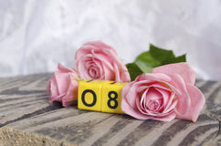 8 March symbol and roses. Figure of eight on cubes with roses on wooden background. Happy woman`s day design. Can be used as a gre Stock Image