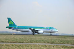March, 24th 2015, Amsterdam Schiphol Airport EI-DEP Aer Lingus. Airbus A320-200 landing on Polderbaan Runway stock photo
