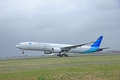 March, 27th 2015, Amsterdam Schiphol Airport PK-GID Garuda Indon Royalty Free Stock Images