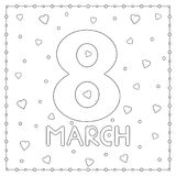 March 8th. Card with hearts. Coloring page. Vector illustration Royalty Free Stock Images