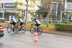 March 4th, 2017 Central Nonthaburi, Thailand has hosted the cyclists along the King`s Cup. There are many people who attended the Royalty Free Stock Photo
