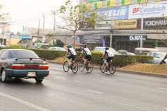 March 4th, 2017 Central Nonthaburi, Thailand has hosted the cyclists along the King`s Cup. There are many people who attended the Stock Images