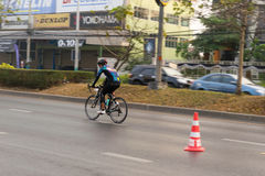 March 4th, 2017 Central Nonthaburi, Thailand has hosted the cyclists along the King`s Cup. There are many people who attended the Stock Photography