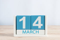 March 14th. Day 14 of month, daily calendar on wooden table background. Spring time. Commonwealth and International pi. March 14th. Image of march 14 wooden stock images